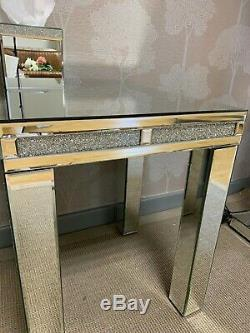 Diamond Glitz Crushed Crystal Mirrored Side Lamp End Table Slight Second