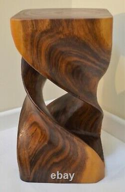 Double Twist Side Table/Stool/Solid Acacia Wood/Lamp Table/Plant Stand/Honey 20