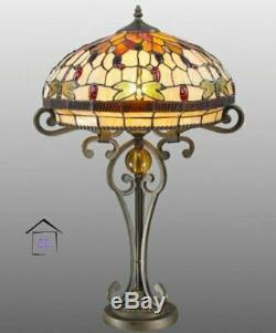 Dragonfly Tiffany Style Glass Handcrafted Large Table Lamp 16 inches Shade