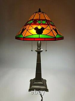 EXTREMELY RARE Mickey Mouse Mosaic Tiffany-Style Stained Glass Table Lamp-MINT