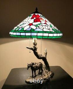Enjoy Tiffany Style Table Lamp Stained Glass Horse Vintage W16H24 ET0161
