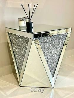 FLASH SALE! Mirrored Lamp Table End Table Mirrored Crushed Diamond End Table