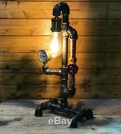Fantastic Industrial Table Lamp, Steampunk, Retro, Edison Bulb, Copper and Brass