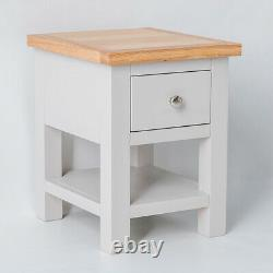 Farrow Grey Side Table Painted Solid Wood Small Coffee Lamp End Table Storage