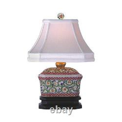 Floral Vine Porcelain Chinese Candy Box Table Lamp 15