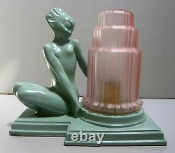 Frankart art deco fish face nymph table lamp greenie metal and glass USA