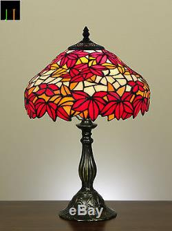 Free Postage Tiffany Maple Leaf Stained Glass Bedside Table Desk Lamp Light