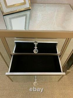 Georgia Luxe Champagne Gold Mirrored 2 Drawer Bedside Cabinet Chest Lamp Table