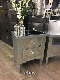 Georgia Silver Trim Mirrored Chest of 2 Drawer Bedside Cabinet Lamp Table
