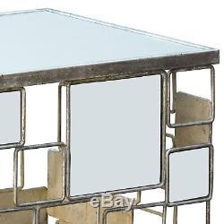 Gin Shu Parisienne Square Silver Metal Mirror Side Coffee End Lamp Bedside Table