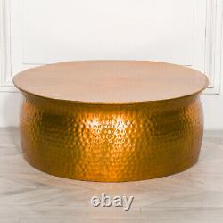 Gold Brass Modern Hammered Aluminium Round Drum Coffee Table Lamp Plant Stand
