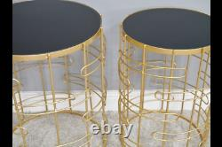 Gold Glass Metal Nest Set Of 2 Round Side End Lamp Coffee Tables (dx6463)