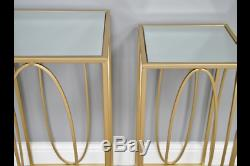 Gold Glass Metal Nest Set Of 2 Square Nest Side End Lamp Coffee Tables (dx6468)