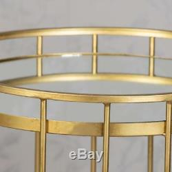 Gold Glass & Metal Set 2 Round Caged Nest Of Side End Lamp Coffee Tables (gb237)