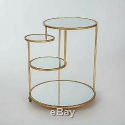 Gold Leaf Metal Glass Round Side Coffee Lamp End Table With Shelves