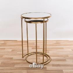 Gold Metal Glass Round Nest Set Of 2 Side Coffee Lamp End Tables