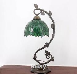Green Leaf Tiffany Style Table Lamp Bedroom Livingroom Light Stained Glass Desk