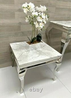 Grey/white Marble Louis Style Side End Lamp Table Stainless Steel Modern