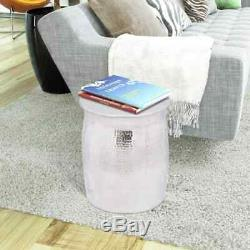 Hammered Aluminium Stool Side Table Lamp Coffee Book Plant Stand End Bedside