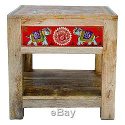 Hand Painted Small Coffee Lamp Table with Drawer Elephant Design Fair Trade