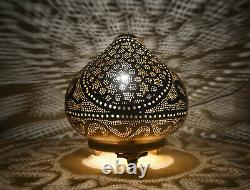 Handcrafted Egyptian Moroccan Matte Gold Brass 8 Table Lamp Light