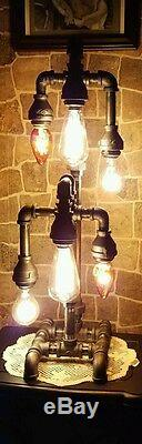 Handcrafted Industrial Pipe Tiered Home Table and Desk Lamp steampunk style