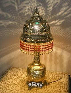 Handcrafted Moroccan Gold Brass Jeweled Table Lamp Light with Beaded Chains
