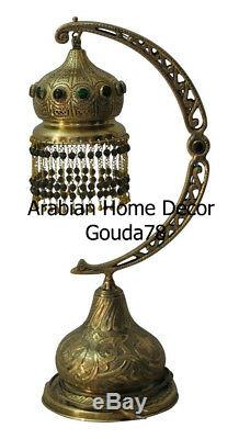 Handcrafted Moroccan Middle Eastern Jeweled Brass Table or Floor Lamp Light