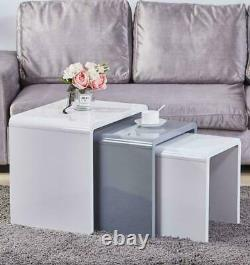 High Gloss Nested Coffee Table Side Set of 3 White Grey Wooden Lamp Stack Home