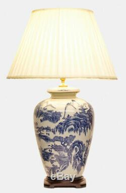 Huge 72cm Chinese Style Antique White & Blue Willow Ceramic Table Buffet Lamp Li