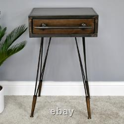 Industrial Bedside Table Rustic Retro Side End Table Lamp Cabinet Console