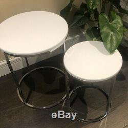 Industrial Nest Of Tables Round Coffee Plant Lamp Side Table Set Of 2 Modern New