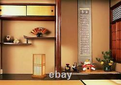 Japanese Style Table Lamp Stand Light Natural Bamboo Work Square Interior Japan