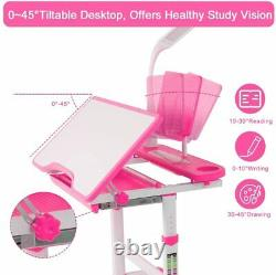 Kids Study Desk Chair Set Children Drawing Painting Writting Table Adjustable UK