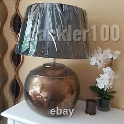 Large Contemporary Table Lamp round ceramic bronze base with black drum shade