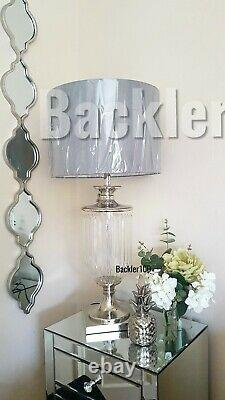 Large Silver Grey TABLE LAMP Contemporary Style Metal Glass Light Lamps 82cm