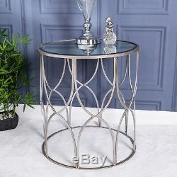 Large Silver Mirrored Metal Side Table Lamp Vintage Hallway Living Room Home