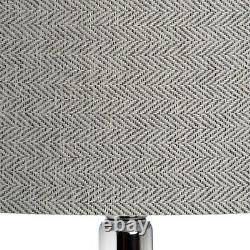 Large silver grey Table Lamp with shade chrome metal Contemporary Light 78cm