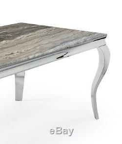 Louis XV Style Grey Solid Marble Stainless Steel Rectangle Coffee Lamp Table