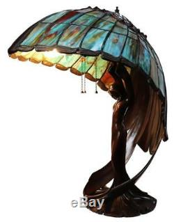 Lovely Flying Lady Lamp, Tiffany Style Stain Glass, Tiger's Eye Wings, 26 in