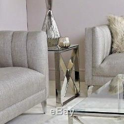 Madison Contemporary Stainless Steel Clear Glass Side End Lamp Display Table