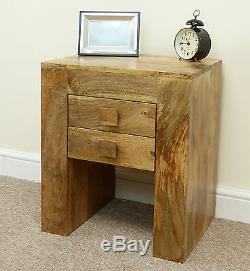 Mantis Lamp Table 2 Drawer Bedside Cabinet Solid Mangowood by Mercers Furniture