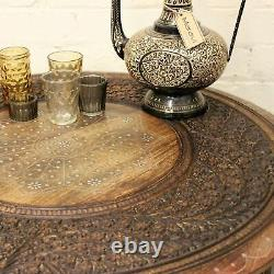 Matanga Large Round Coffee Table Brown Solid Wooden Indian Side Lamp Vintage