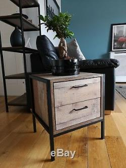 Matching Pair Industrial Chic 2 Drawer Bedside Lamp End Tables Retro Cabinets