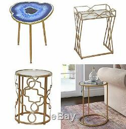 Metal Round Side Table Small Gold Furniture Vintage Lounge Coffee End Glass Lamp