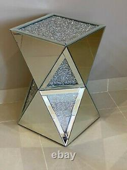 Mirrored Crushed Crystal Diamond Geometric Pedestal Table End Table Lamp Table