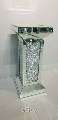 Mirrored Crushed Crystal Diamond Pedestal Table End Table Lamp Table