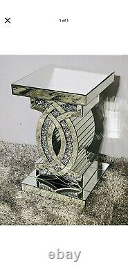 Mirrored Crushed Crystal Diamond Pedestal Table End Table Lamp Venetian Glitter