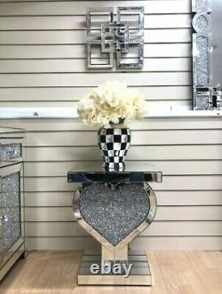 Mirrored Crushed Crystal Heart Shaped Pedestal Table End Table Lamp Table