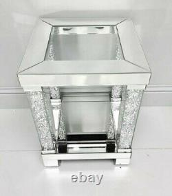 Mirrored Crushed Diamond Illusion Side End Table Lamp Living Room Modern Crystal